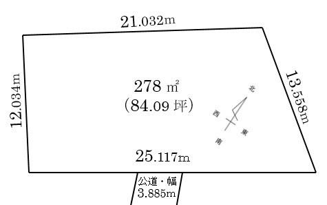 間取図/区画図:広さは84坪あり広々しています。
